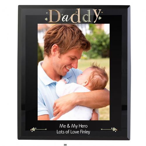 Personalised Daddy Black Glass 5x7 Frame